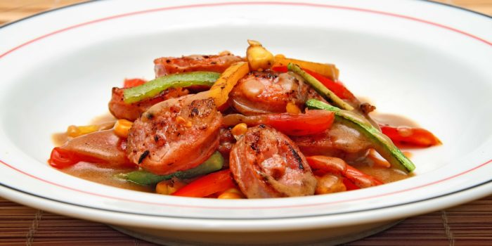 Sausages and peppers