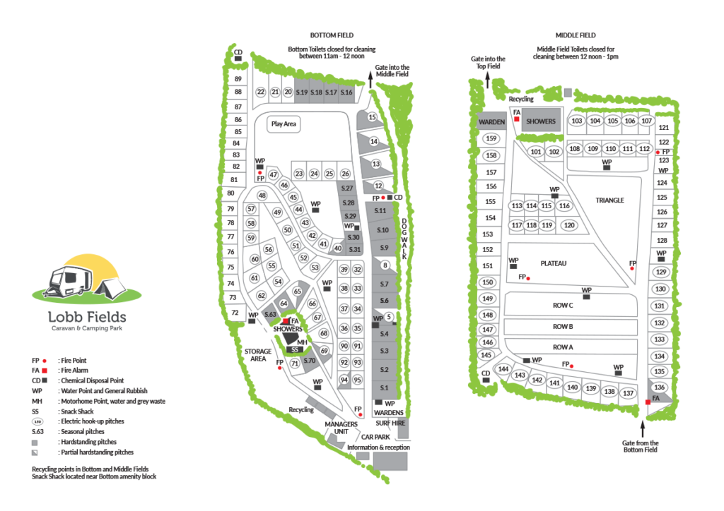 2019 Site Map | Lobb Fields Camping and Caravan Park | North Devon