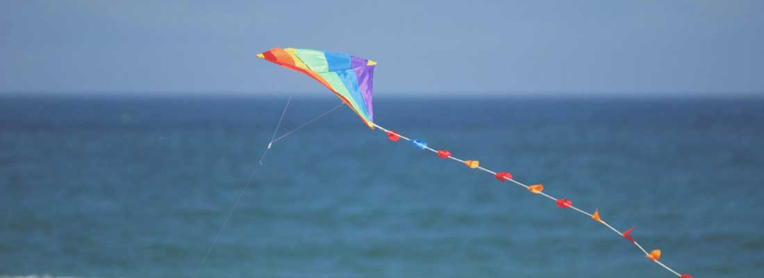 Rainbow kite flying beside the sea