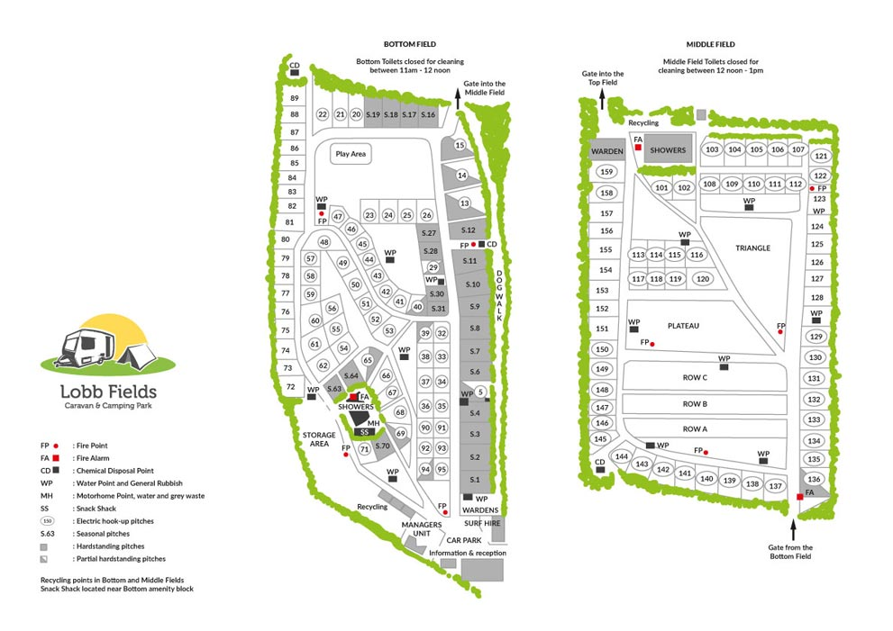 2020 Site Maps | Lobb Fields Caravan and Camping Park